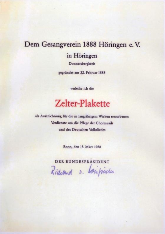 Die Zelter-Plakette, verliehen vom Bundespräsidenten im März 1988